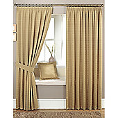 Curtina Marlowe 3 Pencil Pleat Lined Curtains 90x90 inches (228x228cm) - Biscuit