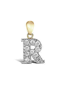 9ct Yellow Gold Cubic Zirconia Initial Charm Identity Pendant - Letter R