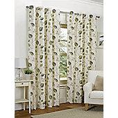 Amelia Ready Made Curtains Pair, 66 x 90 Green Colour, Modern Designer Look Eyelet curtains