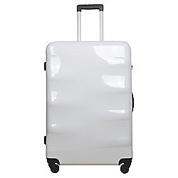 Tesco 4-Wheel Large Gloss White Suitcase