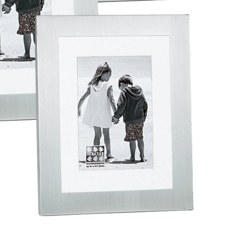 Sixtrees Metro with Mount Photo Frame - Matt - Brushed Silver - 12.7 cm H x 17.78 cm W x 2.5cm D