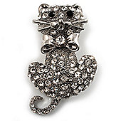 Diamante Cat With Bow Brooch (Silver Tone)