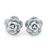 Tiny White 'Rose' Stud Earrings In Silver Tone Metal - 10mm Diameter