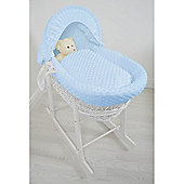 Cuddles Collection White Wicker Moses Basket (Dimple Blue)