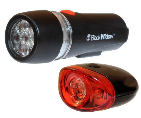 Black Widow UltraBright Front and Defender Rear Bike Light Set. (5 LED Front and 3 LED Rear)