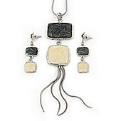 Grey/ Cream Enamel Square Tassel Pendant & Drop Earrings Set In Rhodium Plating - 38cm Length/ 5cm Extension