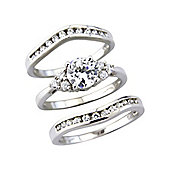 Sterling Silver Cubic Zirconia Set 3 Part Ladies Ring