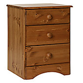 Altruna Scandinavian 3 Drawer Bedside Table - Pine
