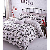 Catherine Lansfield Home Barking Mad Cotton Rich Fully Lined Eyelet Curtains 66x72 inches