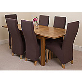 Cotswold Rustic Solid Oak Extending 132 - 198 cm Dining Table with 6 Brown Lola Fabric Chairs