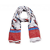 Red and White Long Bird Print Scarf