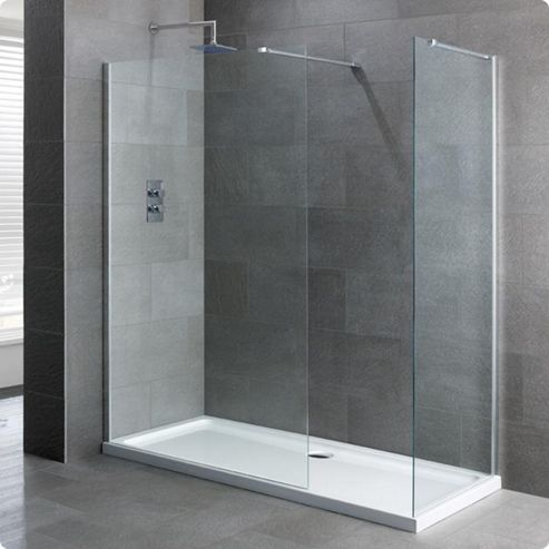 Buy duchy select silver walk in shower enclosure 1200mm x for Walk in shower tray