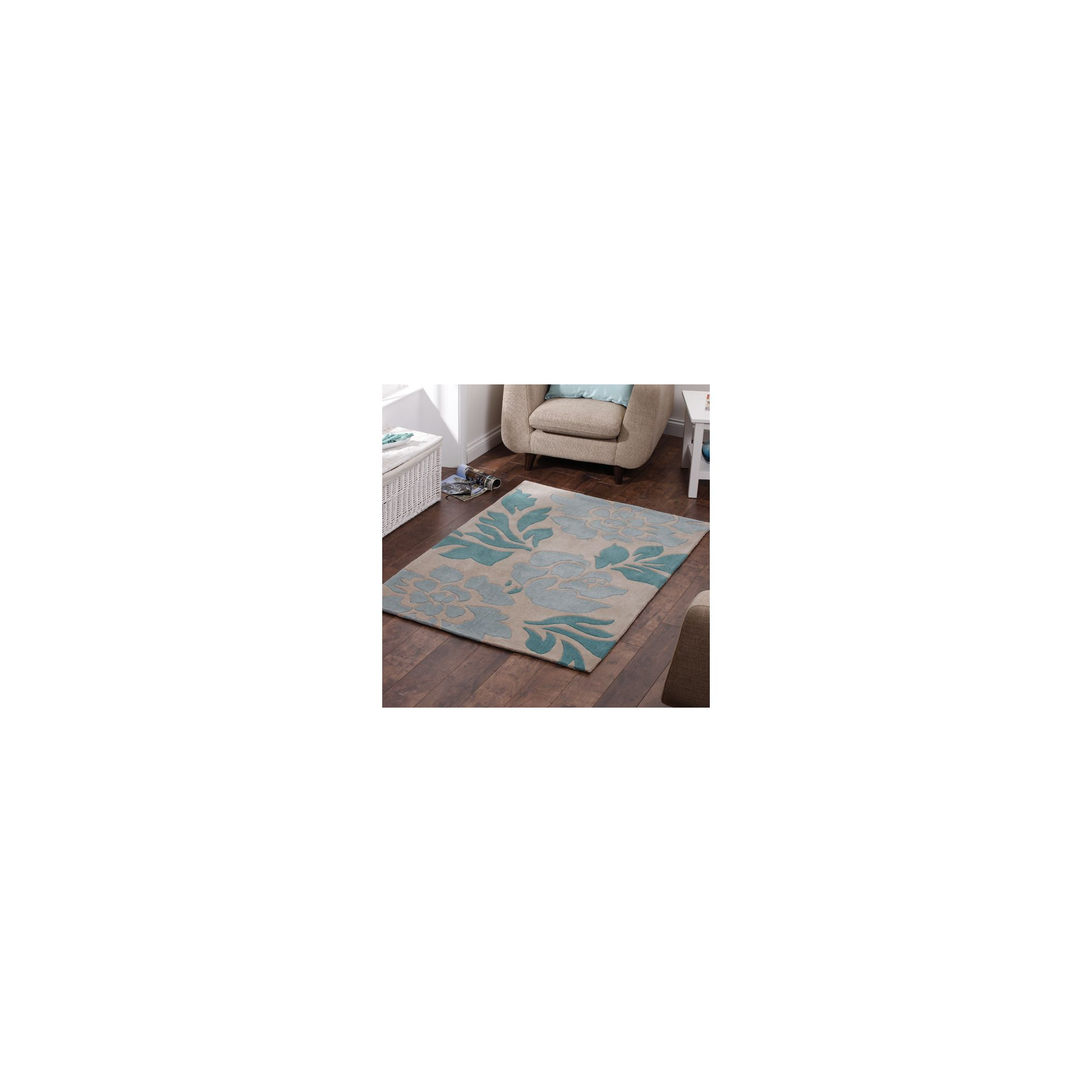 Oriental Carpets & Rugs Hong Kong 33L Beige/Blue Rug - 90cm x 150cm