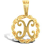Jewelco London 9ct Gold Rope Initial ID Personal Pendant, Letter X - 0.9g
