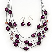 Layered Deep Purple/Amethyst Bead Wired Necklace & Drop Earrings Set - 52cm Length/ 6cm Extension