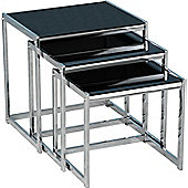 Home Essence Renmark Nest of Tables in Black Glass and Chrome