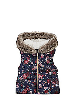 F&F Tapestry Floral Print Hooded Gilet - Navy & Multi