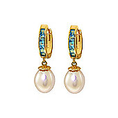 QP Jewellers Blue Topaz & Pearl Drop Huggie Earrings in 14K Gold