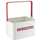 Metal Housekeeping Container With Red Handle