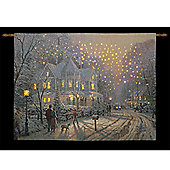 Thomas Kinkade Holiday Gathering Illuminated Hanging Tapestry