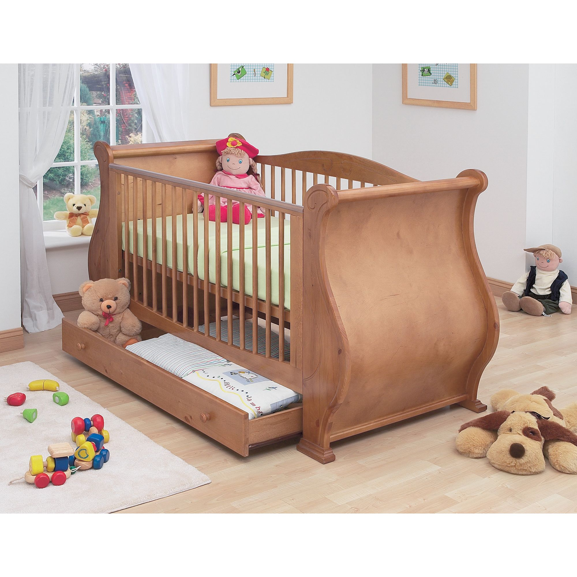 Tutti Bambini Louis Sleigh Cot Bed with Drawer in Old English at Tesco Direct