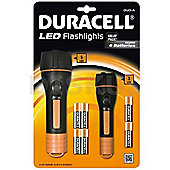 Duracell Duo-A Pack of 2 Torches with 6 Batteries Included 88462000727 Large Torch 5 LED inlcudes 4 x AA Batteries