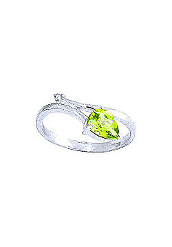 QP Jewellers Diamond & Peridot Top & Tail Ring in 14K White Gold