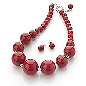 Hot Red Acrylic Bead Necklace And Stud Earring Set (Silver Tone Metal) - 39cm Length