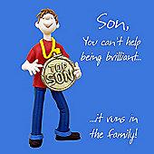 Holy Mackerel Greeting Card - Son it runs in the family Birthday card