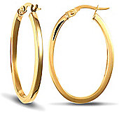 Jewelco London 9ct Yellow Gold Square Tube Oval Shape hoop Earrings