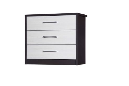 Alto Furniture Avola 3 Drawer Chest - Grey Carcass With White Avola