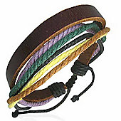Urban Male Men's Surf Bracelet Multi Strand Cotton & Leather