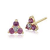 Gemondo 9ct Yellow Gold 0.22ct Pink Sapphire & Diamond Cluster Stud Earrings