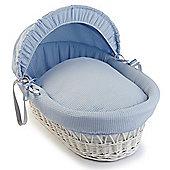 Clair de Lune White Wicker Moses Basket (Soft Cotton Waffle Blue)