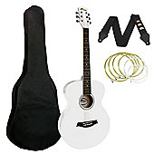 Tiger White Acoustic Guitar Package