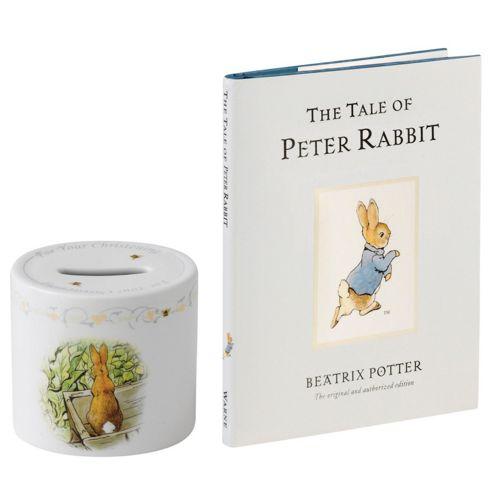 Wedgwood Peter Rabbit Christening Money Box and Book