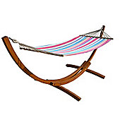 Bentley Garden Hammock With Wooden Arc Stand - Multicoloured Stripe