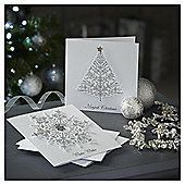 Luxury Snowflake and Tree Jewel Christmas Cards, 10 pack