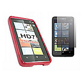 Red Twin Pack ProGel Skin Case & LCD Screen Protector - HTC HD7
