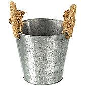 Parlane Small Metal Garden / Utensil Pot / Planter With Jute Handles - 15 x 16cm