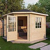 10ft x 10ft (3m x 3m) Corner Log Cabin (Double Glazing) 44mm