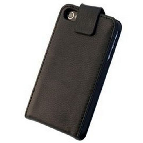 Tortoise™ Genuine Leather Flip Case. iPhone 4/4S, Black.