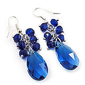 Royal Blue Teardrop-Shaped Acrylic Bead Earrings (Silver Tone Metal) - 5cm Length