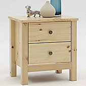 Nature - Solid Wood 2 Drawer Bedside Cabinet - Natural