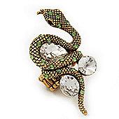 Stunning Swarovski Crystal Snake Stretch Ring In Burn Gold Metal (6cm Length)- 7/9 Size