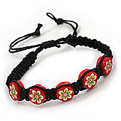 Red/Black Floral Wooden Friendship Style Cotton Cord Bracelet - Adjustable