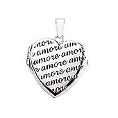 Jewelco London Rhodium-Coated Sterling Silver Heart Locket