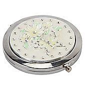 Pastel Yellow and Green Butterfly Compact Mirror