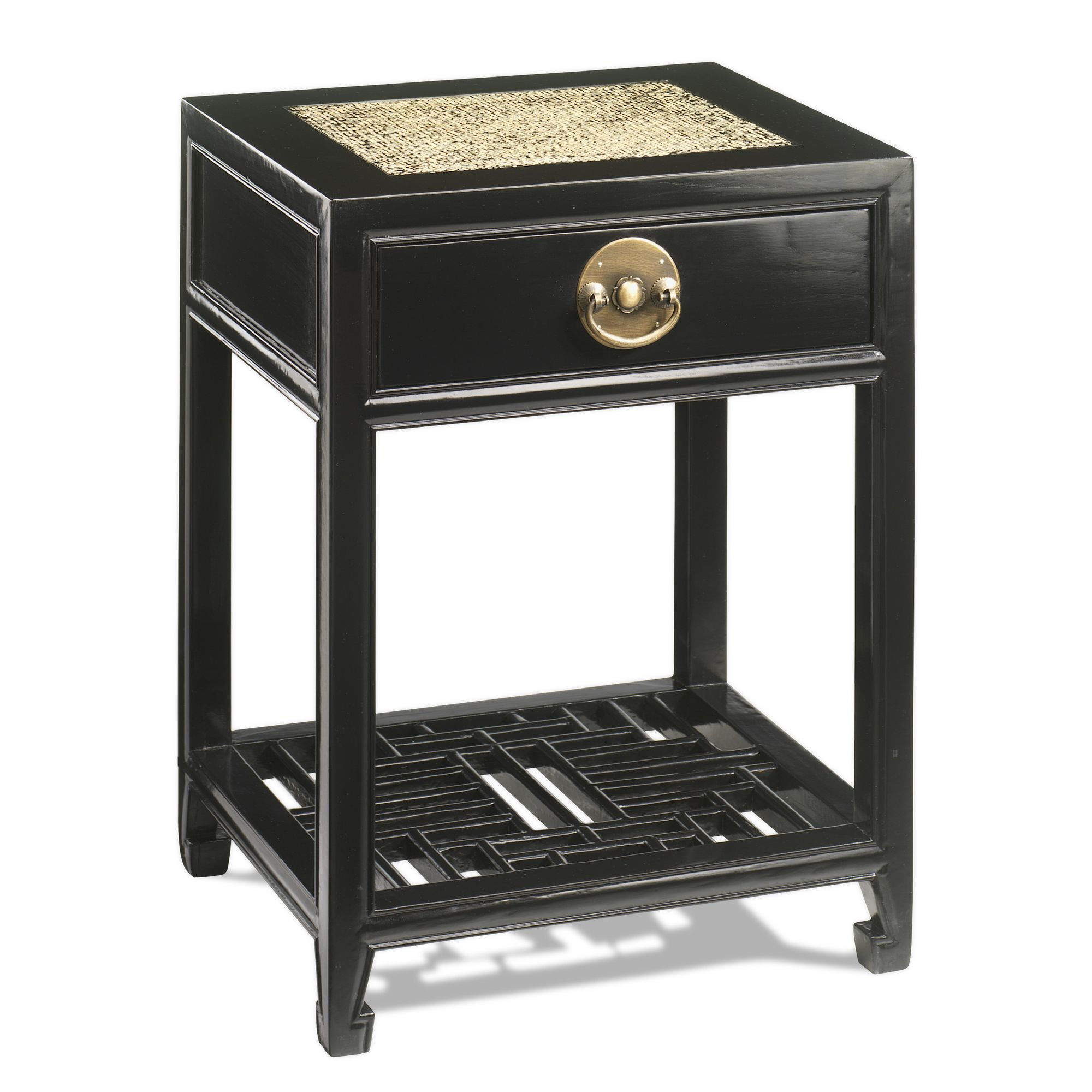 Shimu Chinese Classical Carved Side Table - Black Lacquer at Tesco Direct