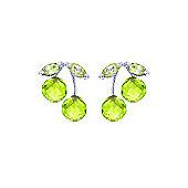 QP Jewellers 2.90ct Peridot Cherry Drop Stud Earrings in 14K White Gold